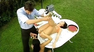 Sandra Romain And Friend Fuck In The Garden In Tea Time