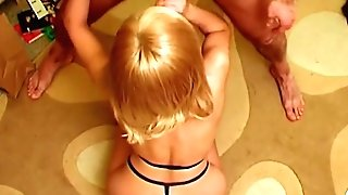 Blonde Britney Gulps Three Spunk Geysers: Tittyfucked, Bum-fucked & Spunk Eating