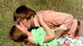 Man Attempts To Entice Nubile In Meadow (1970s Antique)